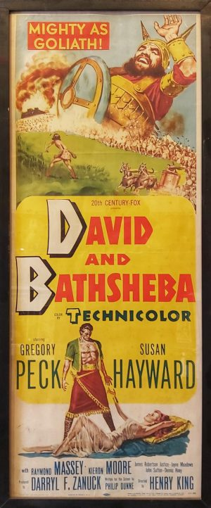 "David and Bathsheba is a 1951 historical Technicolor epic film about King David made by 20th Century Fox. It was directed by Henry King, produced by Darryl F. Zanuck, from a screenplay by Philip Dunne. The cinematography was by Leon Shamroy. Gregory Peck stars as King David and the film follows King David's life as he adjusts to ruling as a King, and about his relationship with Uriah's wife Bathsheba, played by Susan Hayward. Goliath of Gath was portrayed by 203 cm tall (6'8 "") Lithuanian wrestler Walter Talun."