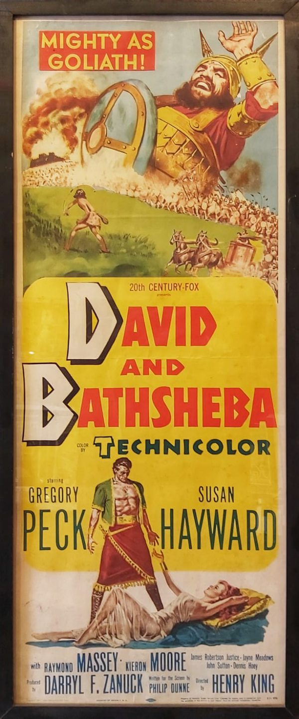 """David and Bathsheba is a 1951 historical Technicolor epic film about King David made by 20th Century Fox. It was directed by Henry King, produced by Darryl F. Zanuck, from a screenplay by Philip Dunne. The cinematography was by Leon Shamroy. Gregory Peck stars as King David and the film follows King David's life as he adjusts to ruling as a King, and about his relationship with Uriah's wife Bathsheba, played by Susan Hayward. Goliath of Gath was portrayed by 203 cm tall (6'8 """") Lithuanian wrestler Walter Talun."""