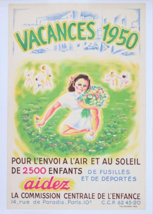 Large poster in lithographic print - Call for help the children of the DPs in France. Paris 1950